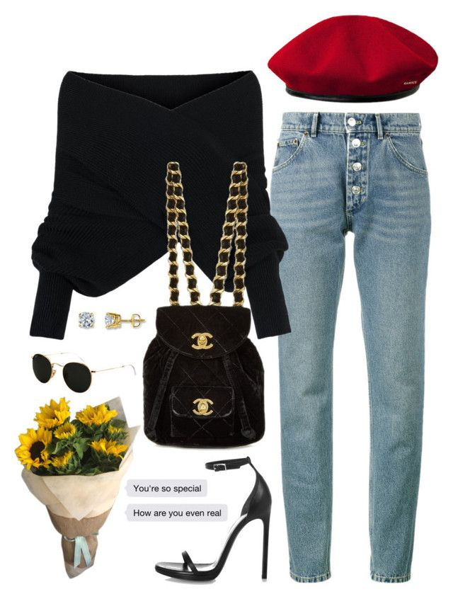 """""""Untitled #714"""" by jenxorose ❤ liked on Polyvore featuring Balenciaga, WithChic, Yves Saint Laurent, kangol and Ray-Ban"""