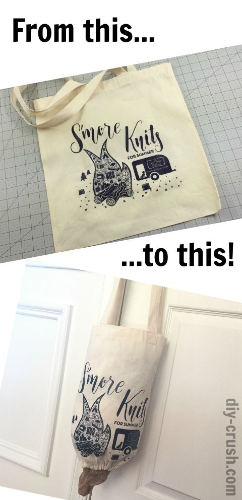 DIY video on how to make a grocery bag holder from a tote bag. It's a great recycle/upcycle project for tote bags.