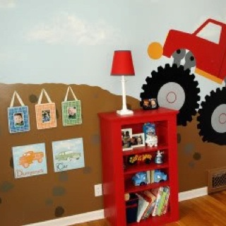 Boys bedroom idea - like the painted wall (with construction equip instead) but too chicken to commit!