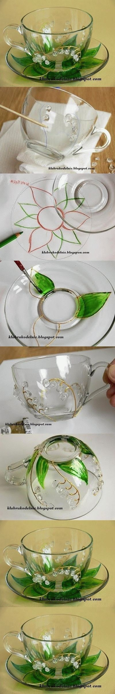 DIY Floral Painted Glass Cup Set