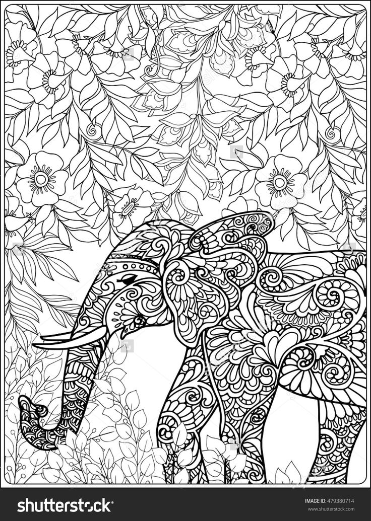 170 best Elephant Coloring Pages for Adults images on Pinterest Adult coloring Coloring books