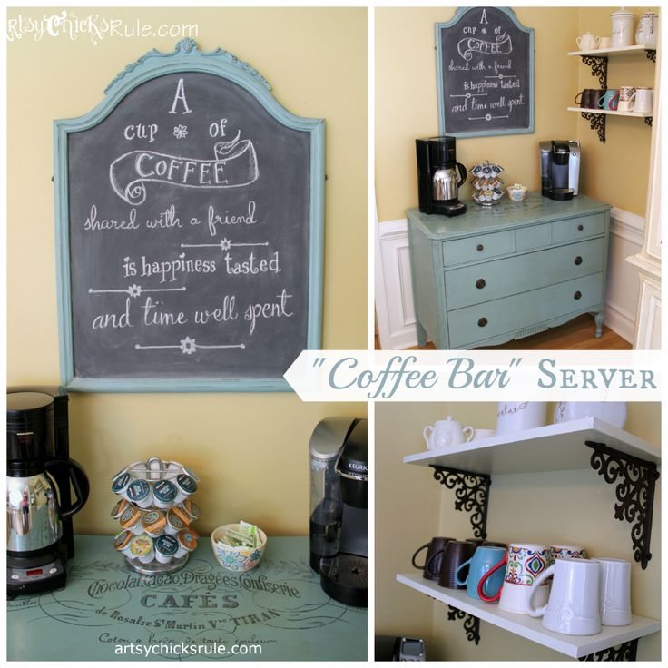 """""""Coffee Bar"""" Server w/Shelves --- Old Antique Dresser to Coffee Bar. (with Annie Sloan Chalk Paint & Graphics) artsychicksrule.com #chalkpaint"""