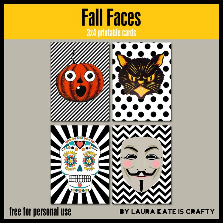Fall Faces freebies cards (Halloween, Day of the Dead, Bonfire Night/Guy Fawkes Night). #projectlife #scrapbooking