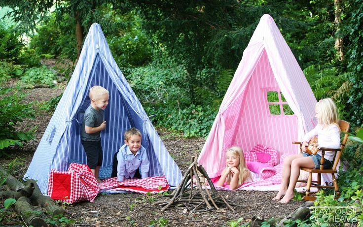 Win Green Handmade Cotton Multi-Stripe Wigwam Playhouse