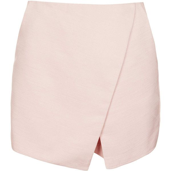 TOPSHOP Pale Pink Ottoman Wrap Skort (£18) ❤ liked on Polyvore featuring skirts, mini skirts, bottoms, shorts, skort, topshop, pale pink, wrap skort, pink mini skirt and pale pink skirt