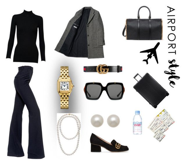 """""""JEAN-ius Travel (contest)"""" by scolab ❤ liked on Polyvore featuring STELLA McCARTNEY, Rimowa, Evian, Alaïa, Alexander McQueen, Honora and Gucci"""