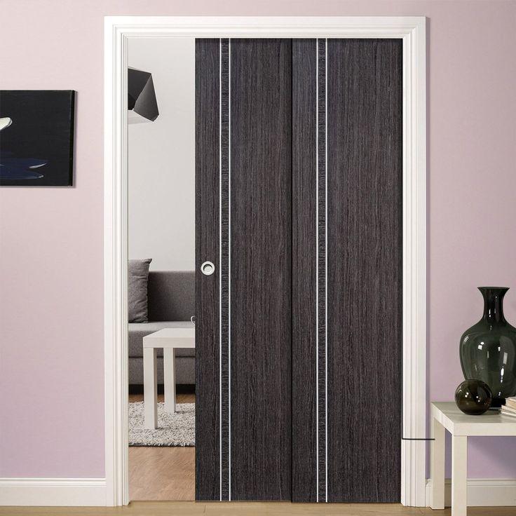 Twin Telescopic Pocket Ash Grey Zanzibar Doors - Prefinished.      #pocketdoor  #interiordesign  #oakdoor  #telescopicdoors