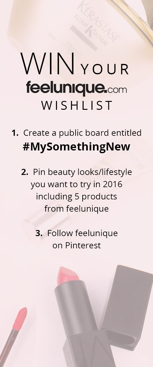 Come & enter our fabulous #MySomethingNew competition! The top 5 boards will win the 5 products they've pinned- let's start the new year with gorgeous new beauty bits! Good luck x