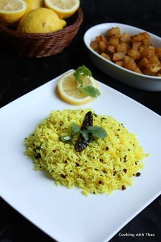 Lemon Rice - An south indian vegetarian delicacy, famous in Tamil Nadu and Kerala   Cooking with Thas – More at http://www.GlobeTransformer.org