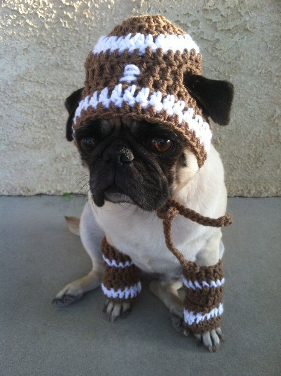 Pug Balaclava Knitting Pattern : Pugs-Dog Beanie-Hats for Dogs-Football-Football Beanie-Pug ...