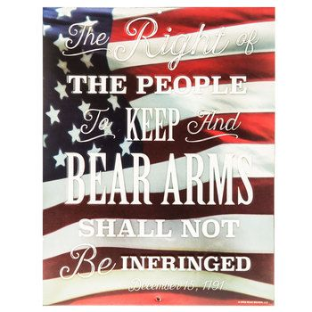 The Right To Bear Arms American Flag Embossed Tin Sign Open Road Brands The Patriot House