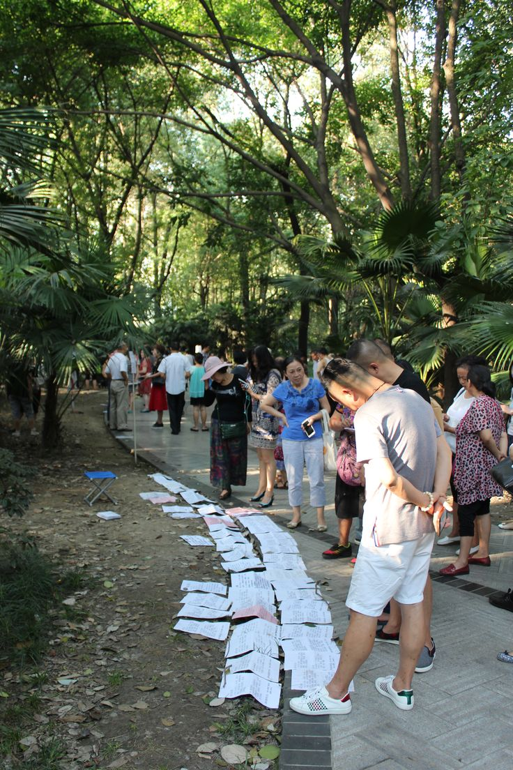The Peoples Park, Chengdu. Concerned parents of young people of marriageable age come to this part of the park to lay out their kids romantic resumes for other parents to make the connection. Online dating has nothing on this!
