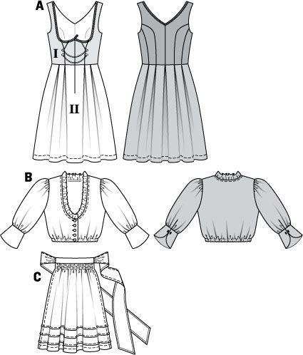 Simplicity Creative Group - Burda Style, Dirndl Dress - underbust dress
