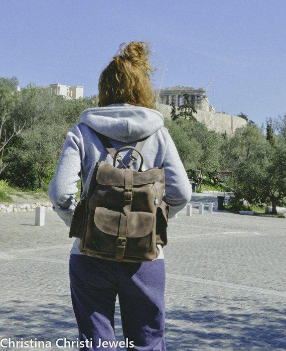 Lederen rugzak vrouwen, lederen rugzak, bruin rugzak, gemaakt van 100% in Griekenland volnerf leder door Christina Christi juwelen. GROOT.