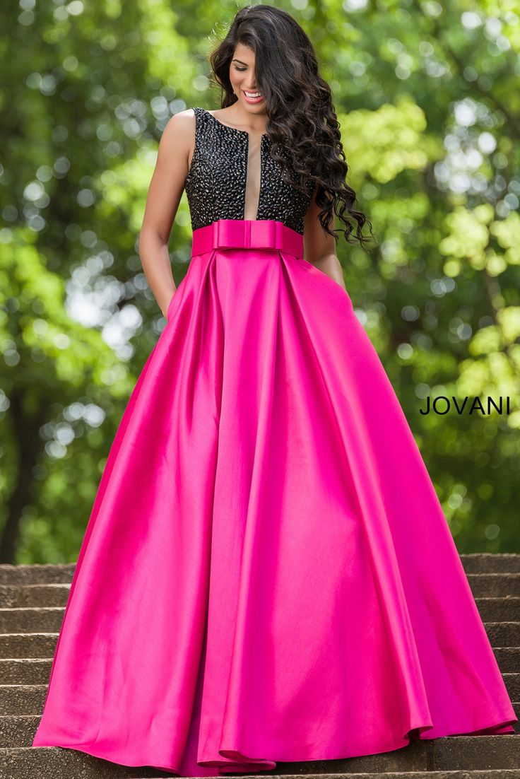 Stunning two tone A-line gown with black beaded top and ...