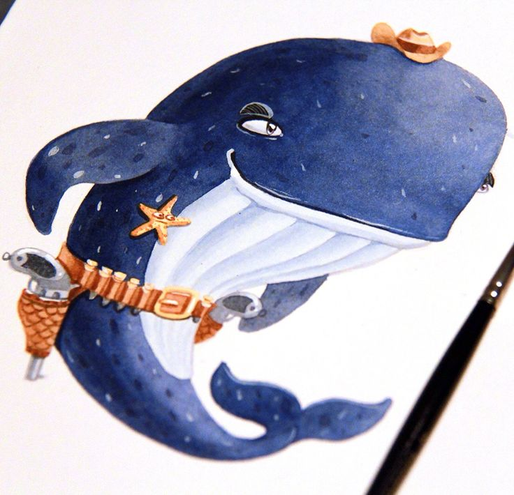 Whale sheriff watercolor  #watercolor #illustration #character #artctopus