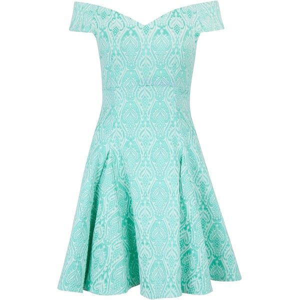 Closet Jacquard Bardot Skater Dress ($85) ❤ liked on Polyvore featuring dresses, vestidos, short dresses, mint, women, skater skirt, mini dress, fit & flare dress and blue fit and flare dress