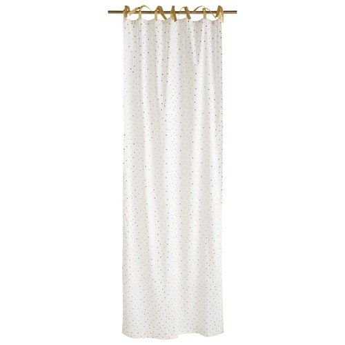 Rideau à nouettes en coton blanc à pois dorés 102x250cm BIRD SONG