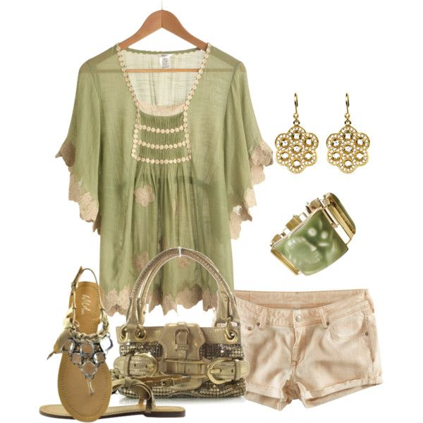 Beige Shorts Outfit (roseyrose27) |Pinned from PinTo for iPad|