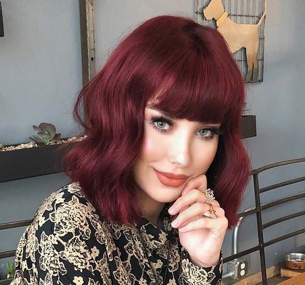 Trendy Red Bob Haircut With Bangs Hair Color Unique Red Bob Hair Bob Haircut With Bangs