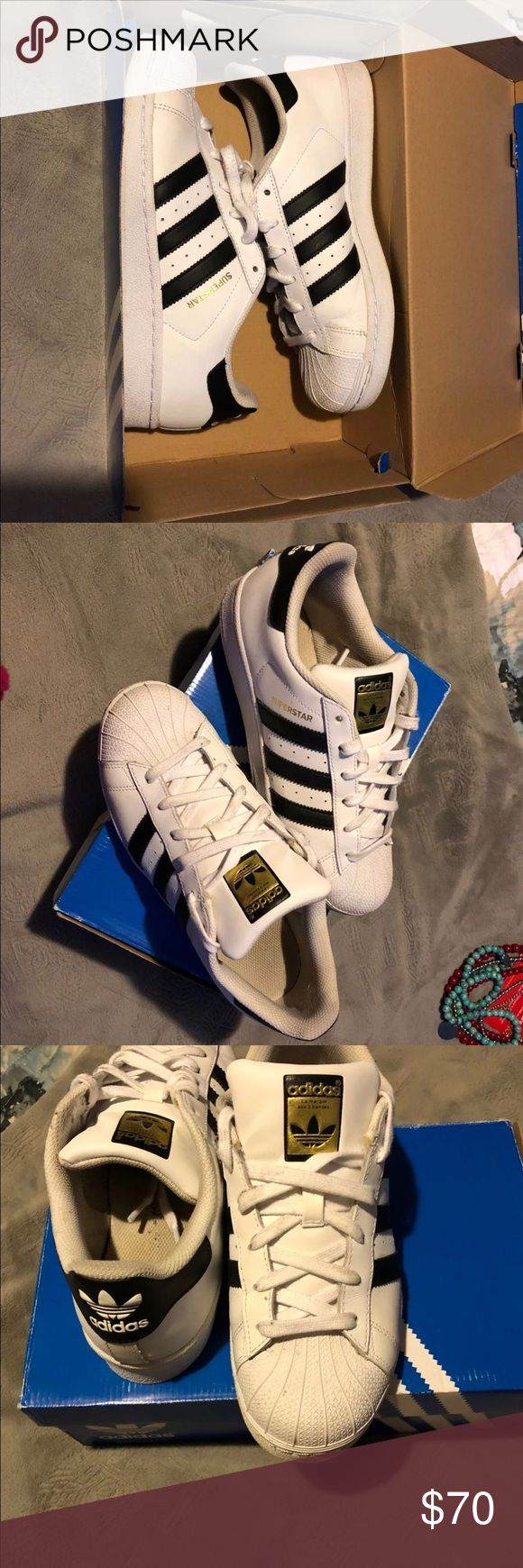 Original Adida Supertars These are like new great condition a couple wears , they are a boys /men 7 , meaning they fit a grade school boy sz 7 a mens size 7 and a womens sz 9! Thanks .. open to offers adidas Shoes Athletic Shoes