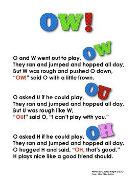 Free Resource:  The OW! song helps children learn the sounds made by /ow/, /ou/, and /oh/.