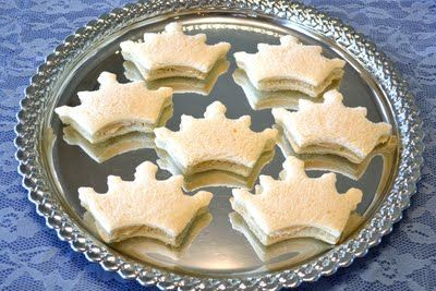 Crown shaped Cream Cheese Tea Sandwiches