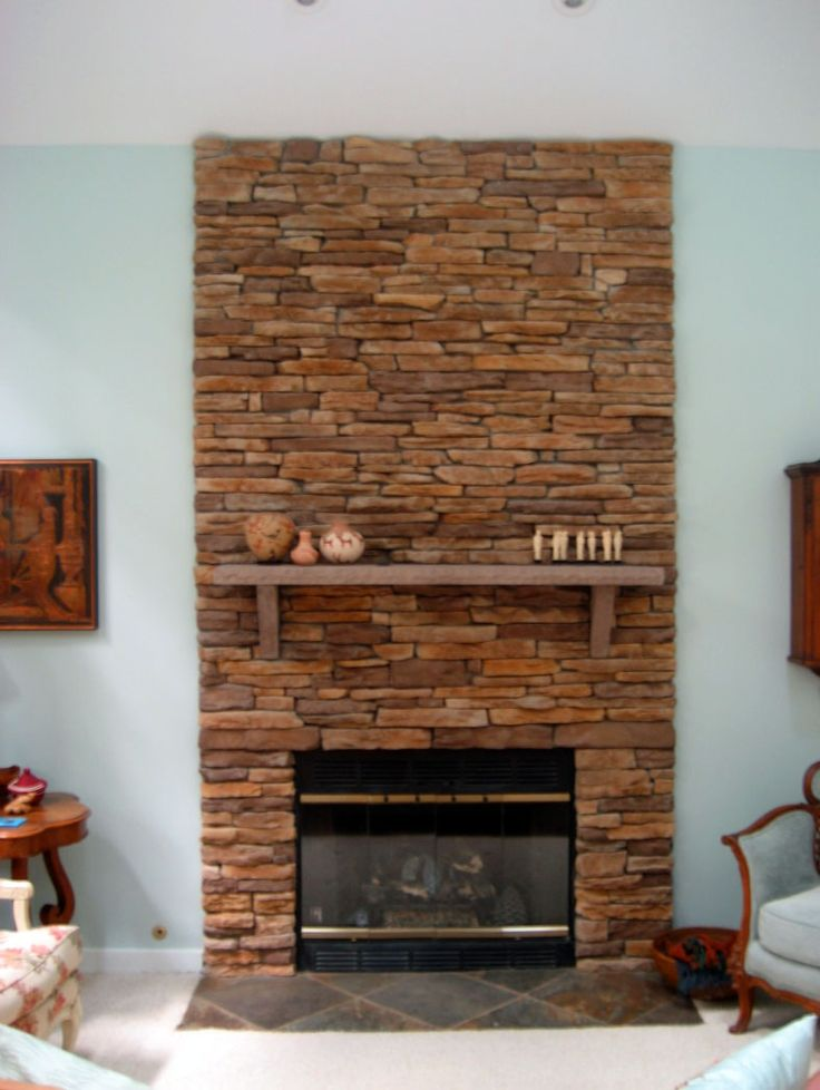 Make Over Fireplace With Stacked Red Stone Fireplace