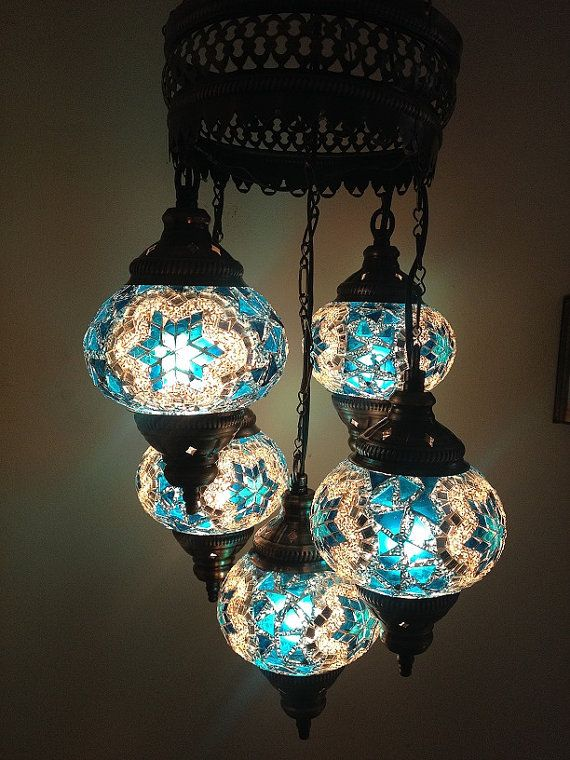 5 ball 110-230v Turkish Moroccan Hanging Glass Mosaic Chandelier Lamp Lighting