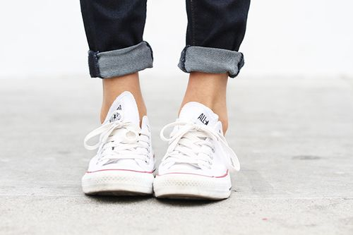 White or Grey Low-Top Converse Size 6