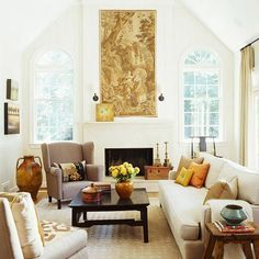 Enlarge Space With White A Narrow Living Room Escapes Feeling Constrained Thanks To Walls Tall Vaulted Ceiling Pale Floors Bare Windows