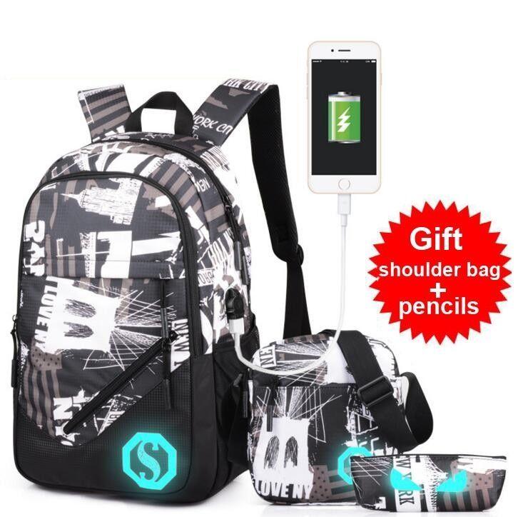 2017 Men Backpack School Student Bag Fashion USB Interface Charge Backpack Leisu