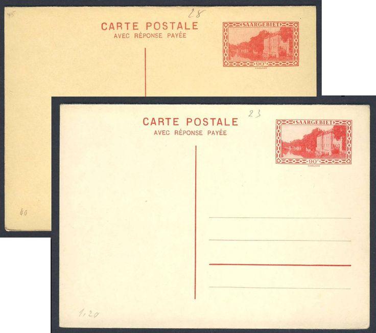 Germany, Saar, Saargebiet 1927/31, 90 C., beide GA-Doppelkarten, ungebr. Pracht (Mi.-Nr.P 23,28/Mi.EUR 340,--). Price Estimate (8/2016): 100 EUR.