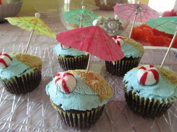 menu for luau theme party | and a cupcake closeup