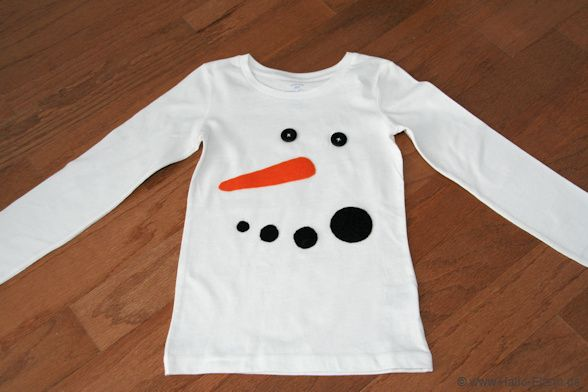 Schneemann-Shirt zum selbst machen ... ganz ohne Nähen!!!
