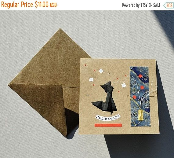 50% ON SALE NOW Handmade Card with a blacck origami by OrijujuShop