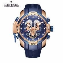 Reef Tiger RT Mens Sports Watch with Year Month Week Day Calendar Steel Complicated Blue Dial
