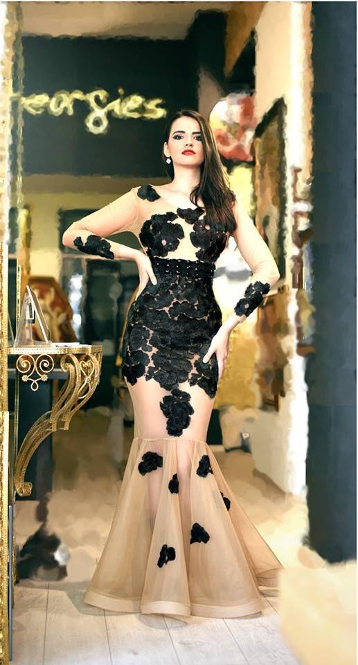 handmade black dress hot couture