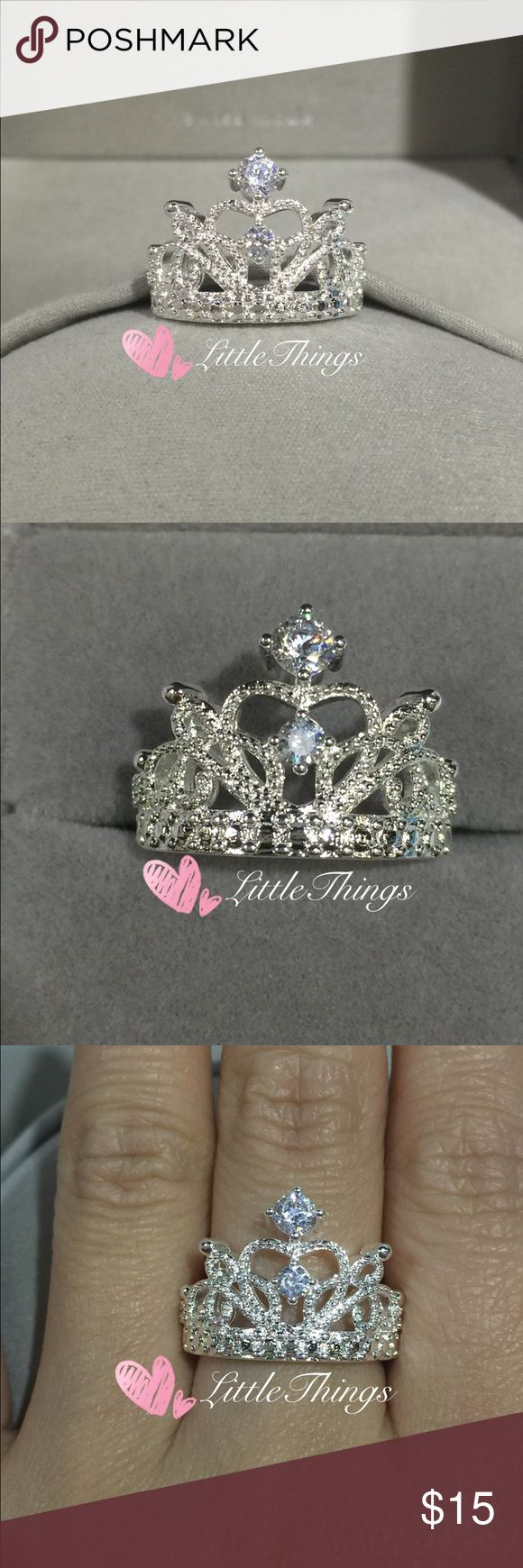 High Quality Princess Crown Ring These beautiful CZ's are AAA Grade ,They are much prettier in person !                                                  Material : 925 Sterling Sliver stamped :925                                        Brand New.                                                                      Size:6 7 8 9 Jewelry Rings