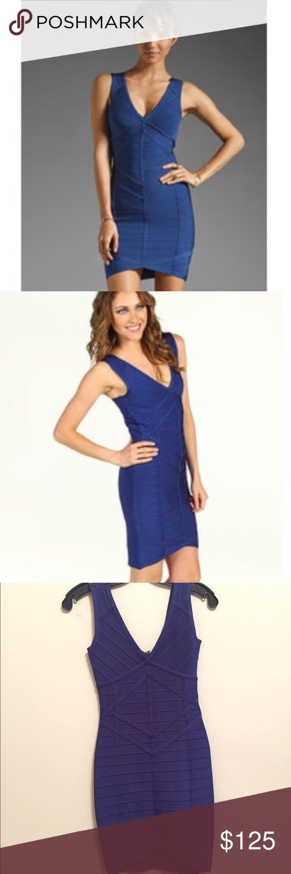 Stretta Rafaella V Neck Bandage Dress in Blue Worn once, stunning blue bandage dress fits amazing! 75% Rayon, 25% Spandex. Back zip closure, needs to be repaired the zipper closure became unhooked from the zipper but a tailor can fix very easily! Ask me any questions Stretta Dresses Mini