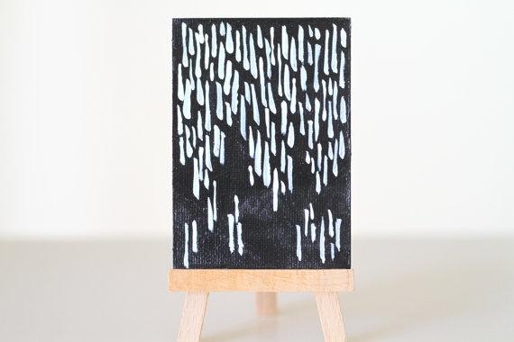 Rain No. 2, Fine Art Miniature  Acrylic Painting, $12.00