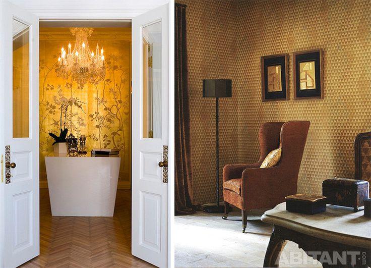Золотистые обои на стенах