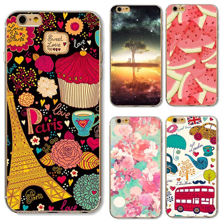 Cubierta suave de tpu para apple iphone 5 5s se 6 6 s 6 más 6 s 7 7 + Cajas Del Teléfono Súper Moda Pintado Flores Frescas Dulce Amor En París
