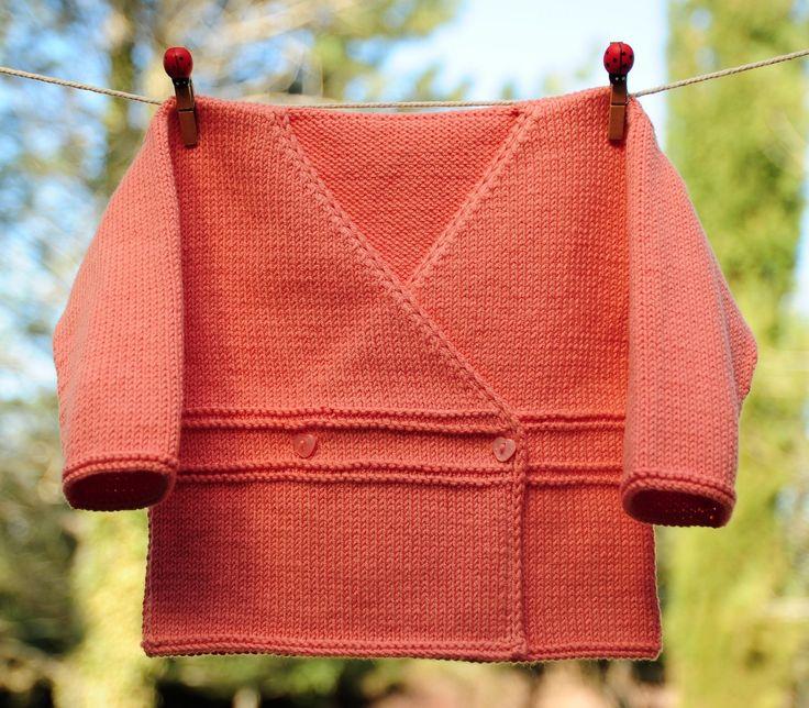 layette cache cœur en coton 3-6 mois neuf tricoté main : Mode Bébé par com3pom