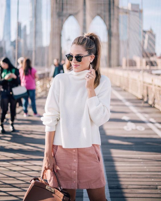 Outfit ideas pink skirt and white warm sweater