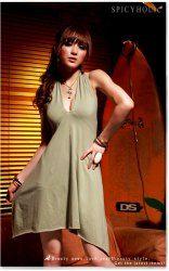 $8.09 New Women Sexy Black Halter Deep-V Club Mini Dress 1298-