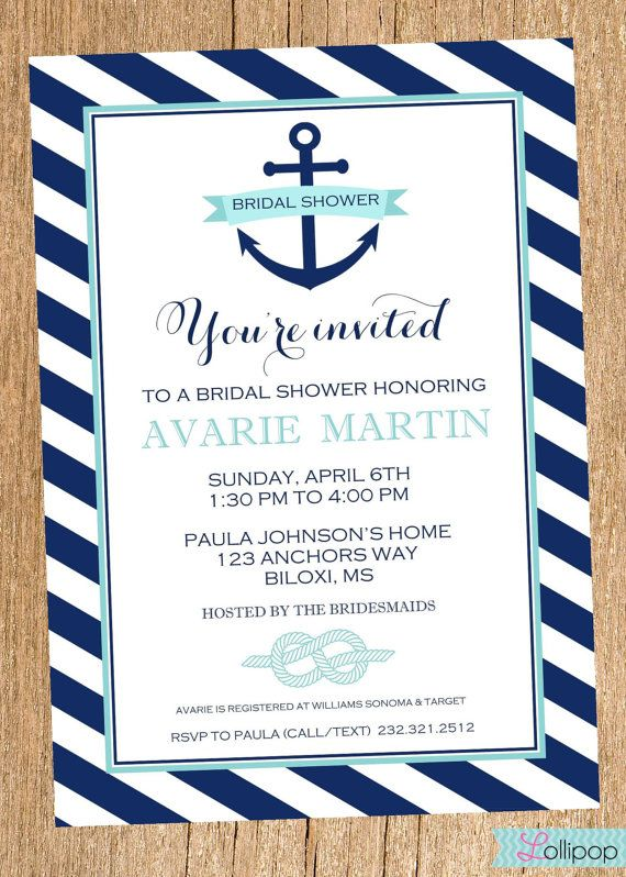 Anchor Nautical Bridal Shower Printable Party by LollipopInk, $13.50