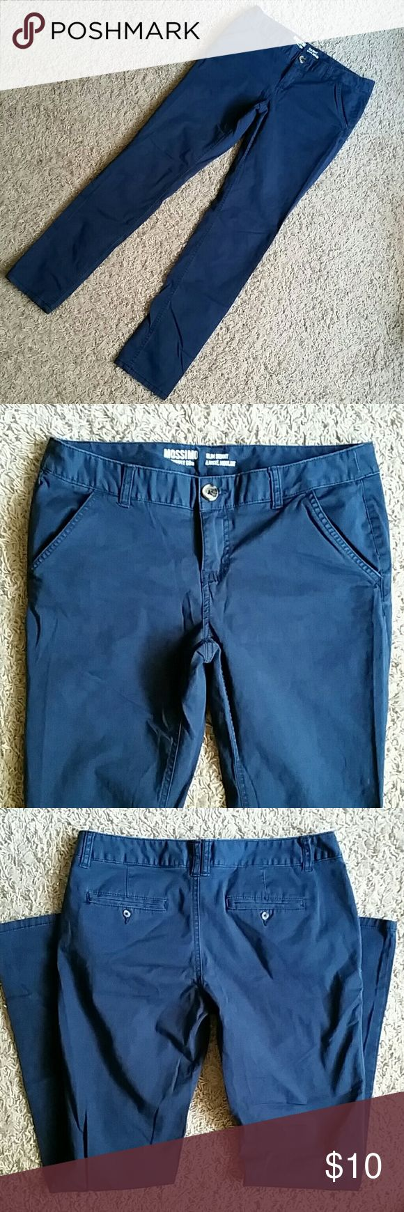 🌻 Blue Khaki Skinny Pants Blue khaki skinny pants by Mossimo. Washed once. Size 9, slim fit.  Choose FIVE $5 or $4 items for only $15.00!  ✅Add your five $5/$4 items to a bundle ✅Then make me an offer for $15.00! ⚠$5 or $4 items only. Items are marked with a 🌻 💕Thank you for shopping my closet!  Women's clothing, baby / toddler clothing, books, etc! Mossimo Supply Co Pants Skinny