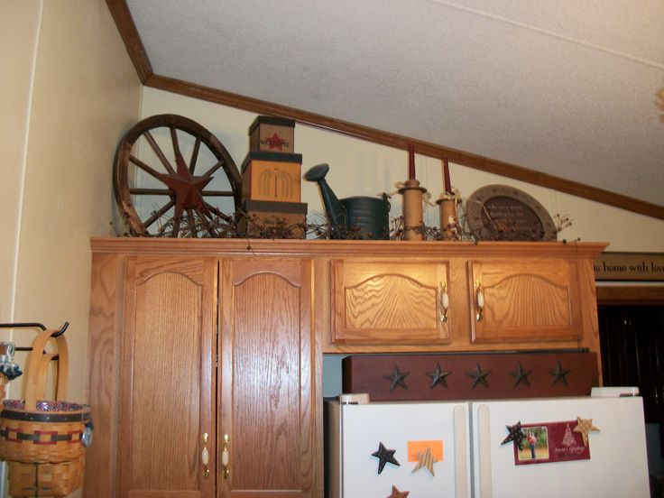 Primitive Decorating Above My Kitchen Cabinets