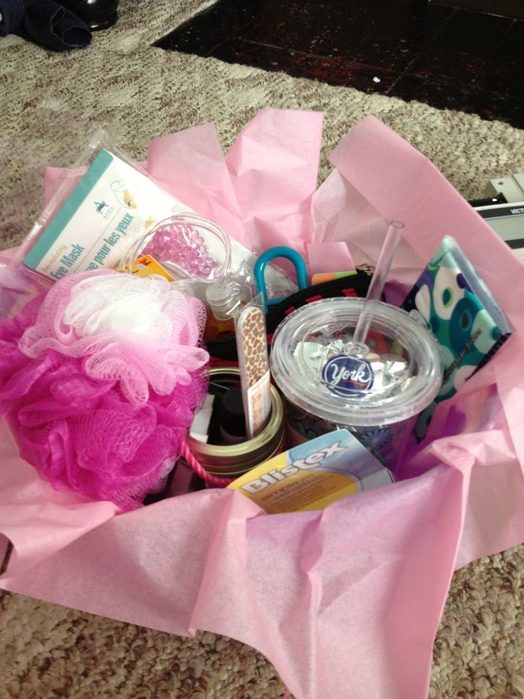 Gift basket contains spa in a jar ( cotton balls, nail
